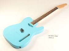 Defective - Daphne Blue Double-Cutaway GLUED-IN Setneck, Traditional Single Coil Rosewood F/B
