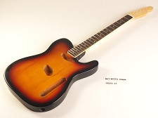 Blem - Sunburst Double-Cutaway GLUED-IN Setneck, Traditional Single Coil Rosewood F/B