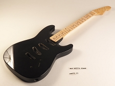 Blem - SPECIAL PURCHASE! Black Double-Cutaway GLUED-IN Setneck, 3 single coils TOP MOUNT, Maple F/B