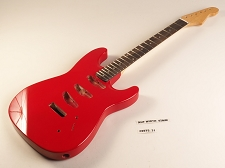 Blem - SPECIAL PURCHASE! Rocket Red Double-Cutaway GLUED-IN Setneck, 3 single coils TOP MOUNT, Rosewood F/B