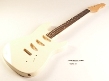 BLEM - Ivory Double-Cutaway GLUED-IN Setneck, 3 single coils TOP MOUNT, Rosewood F/B