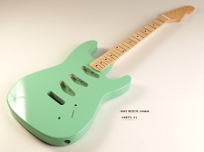 BLEM - Surf Green Double-Cutaway GLUED-IN Setneck, 3 single coils TOP MOUNT, Maple F/B