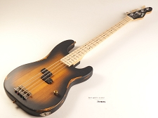 BLEM - Sunburst Slick SLPB Solid Ash Bass Guitar Maple Fingerboard Slick Alnico Pickup