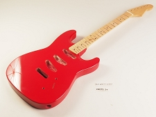 BLEM - SPECIAL PURCHASE! Rocket Red Double-Cutaway GLUED-IN Setneck, 3 single coils TOP MOUNT, Maple F/B