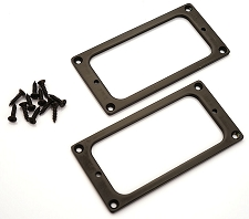 Black Metal GF'Tron fit Pickup Trim Rings, matching pair with screws