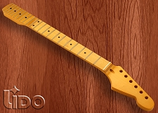 Lido Hard Rock Maple 22 Fret Strat Neck, Maple Fingerboard, Vintage Amber