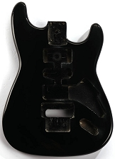 GF Basics Floyd Rose Cut ST Style Body Black Full USA Thickness