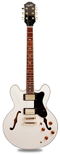 NEW! PRO900 Semi Hollow, Coil Taps Kwikplug Alnico Fat Pats Gloss White/GOLD Hardware