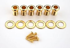 Gold Screw-In Bushings, Washers and screws for Tuning Machines - Package of 6