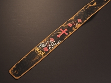 Handmade Slickstraps - Earl Slick Autographed! Leather Strap- Roses with Cross - Black