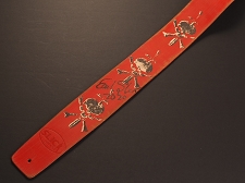 Handmade Slickstraps - Earl Slick Autographed! Leather Strap- Skulls and Bones - Red/Ivory/Black