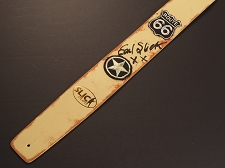 Handmade Slickstraps - Earl Slick Autographed! Embroidered Patch Leather Strap- Route 66 - Ivory