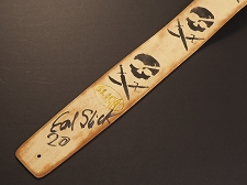 Handmade Slickstraps - Earl Slick Autographed! Leather Strap- Skulls and Swords - Ivory/Black