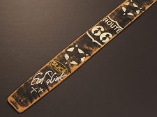 Handmade Slickstraps - Earl Slick Autographed! Leather Strap- Route 66 - Black/Ivory