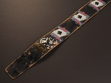 Handmade Slickstraps - Earl Slick Autographed! Embroidered Patch Leather Strap- Born to Lose - Black