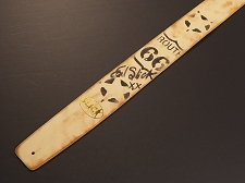 Handmade Slickstraps - Earl Slick Autographed! Leather Strap- Route 66 - Ivory/Black