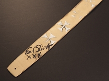 Handmade Slickstraps - Earl Slick Autographed! Leather Strap- Maltese Cross - Ivory/White