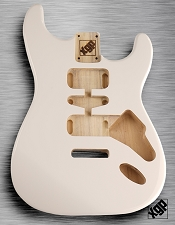 Strat Body HSH Routing Fits 11.3mm USA spec tremolo, White Poplar, Arctic White
