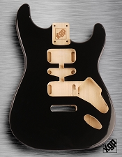 Strat Body HSH Routing Fits 11.3mm USA spec tremolo, White Poplar, Black