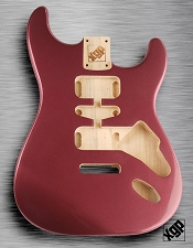 Strat Body HSH Routing Fits 11.3mm USA spec tremolo, White Poplar, Burgundy Mist Metallic