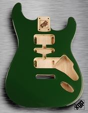 Strat Body HSH Routing Fits 11.3mm USA spec tremolo, White Poplar, British Racing Green