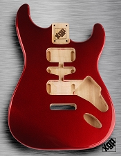 Strat Body HSH Routing Fits 11.3mm USA spec tremolo, White Poplar, Candy Apple Red