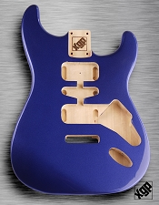 Strat Body HSH Routing Fits 11.3mm USA spec tremolo, White Poplar, Cobalt Blue Metallic