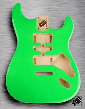 Strat Body HSH Routing Fits 11.3mm USA spec tremolo, White Poplar, Jem Green