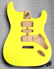 Strat Body HSH Routing Fits 11.3mm USA spec tremolo, White Poplar, Jem Yellow