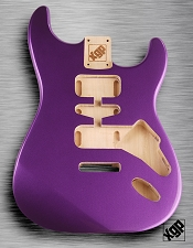 Strat Body HSH Routing Fits 11.3mm USA spec tremolo, White Poplar, Purple Haze Metallic