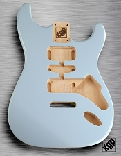 Strat Body HSH Routing Fits 11.3mm USA spec tremolo, White Poplar, Sonic Blue