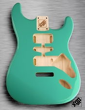 Strat Body HSH Routing Fits 11.3mm USA spec tremolo, White Poplar, Surf Green