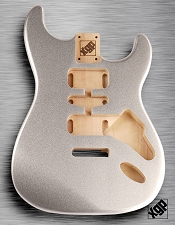 Strat Body HSH Routing Fits 11.3mm USA spec tremolo, White Poplar, Silver Metalflake