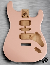 Strat Body HSH Routing Fits 11.3mm USA spec tremolo, White Poplar, Shell Pink