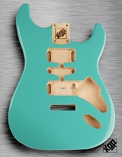 Strat Body HSH Routing Fits 11.3mm USA spec tremolo, White Poplar, Tropical Turquoise