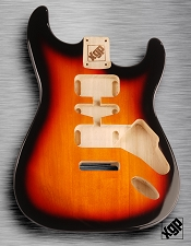Strat Body HSH Routing Fits 11.3mm USA spec tremolo, White Poplar, Vintage Sunburst