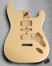 Strat Body HSH Routing Fits 11.3mm USA spec tremolo, White Poplar, Vintage Cream