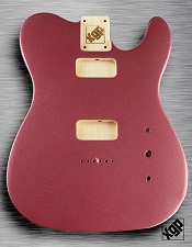 Tele Body cut for 2 FILTER'TRON, GF'Tron  White Poplar, Burgundy Mist Metallic