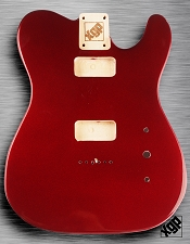 Tele Body cut for 2 FILTER'TRON, GF'Tron White Poplar, Candy Apple Red