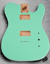 Tele Body cut for 2 FILTER'TRON, GF'Tron White Poplar, Surf Green
