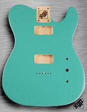 Tele Body cut for 2 FILTER'TRON, GF'Tron White Poplar, Tropical Turquoise