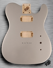 Tele Body cut for 2 Humbucker, White Poplar, Bright Silver