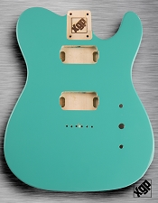 Tele Body cut for 2 Humbucker, White Poplar, Tropical Turquoise