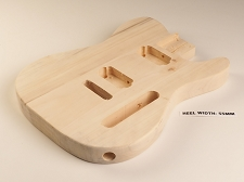 Unfinished Tele® Style Body Solid White Poplar Tremolo - Blemished