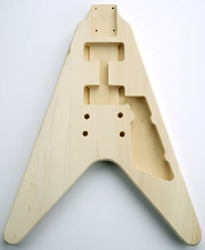 Unfinished Solid White Poplar Flying V Bolt On Body.