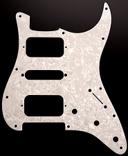 Strat® HSH Radius Corner Pickguard for OPEN Pickups- Pearloid White