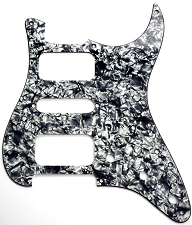 Strat HSH Radius Corner Pickguard for OPEN Pickups- Black Pearl