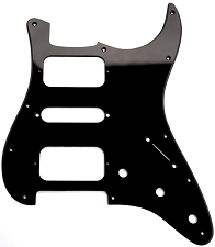 Strat HSHRadius Corner Pickguard for OPEN Pickups- Single Ply Black