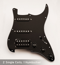 Pre Wired Humbucker/Single/Single Pickguard Black on Black