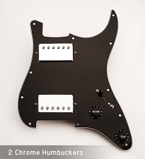 Wired Two Chrome Humbuckers, Black/White/Black guard -Fits Strat®